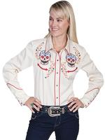 A Scully Ladies' Vintage Western Shirt: A Sugar Skull Embroidery Cream M-2XL SALE