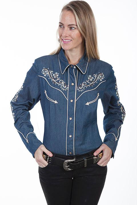 A Scully Ladies' Vintage Western Shirt: Denim Floral Embroidery XS-2XL Back Ordered