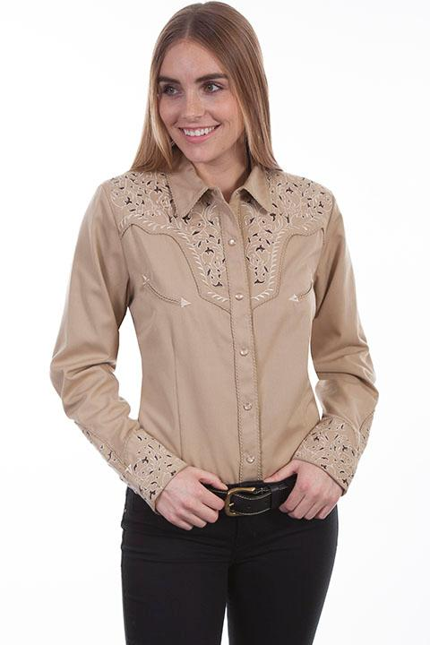 A Scully Ladies' Vintage Western Shirt: Two Tone Scroll Embroidery Tan