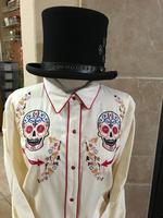 A Scully Ladies' Vintage Western Shirt: A Sugar Skull Embroidery Cream SALE