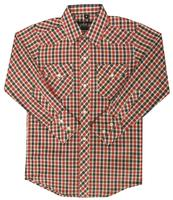 White Horse Children's Western Shirt: Plaid Black Red