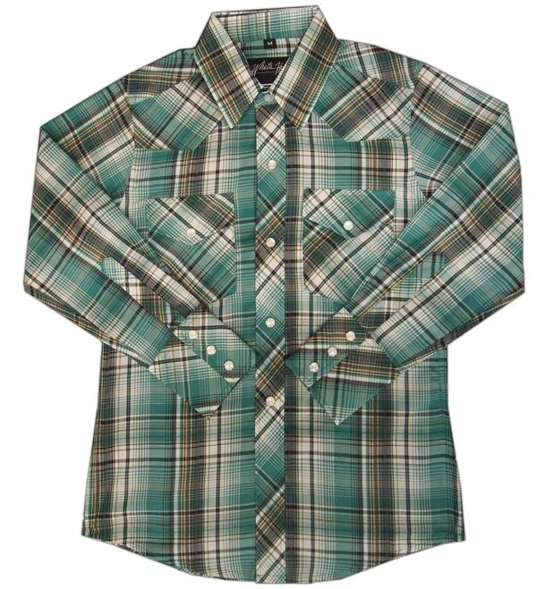 White Horse Children's Western Shirt: Plaid Green Black