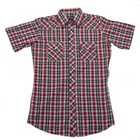 White Horse Men's Western Short Sleeve Shirt: Plaid A Red Black