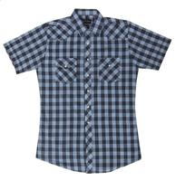 White Horse Men's Western Short Sleeve Shirt: Plaid Check Blue Black