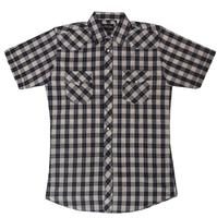 White Horse Men's Western Short Sleeve Shirt: Plaid Check Black Tan