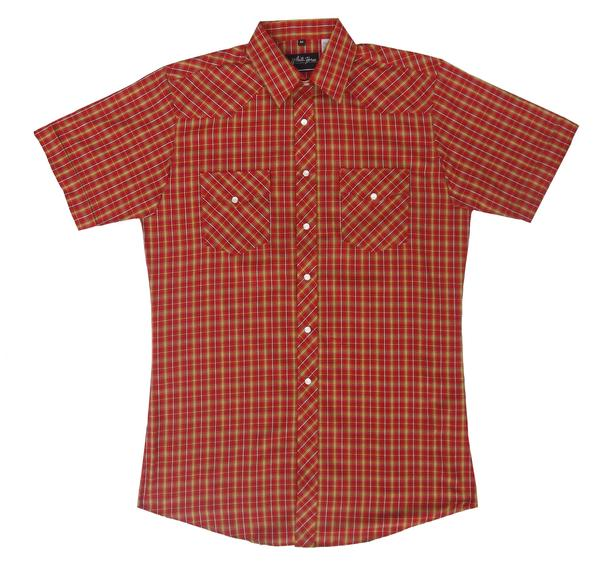 White Horse Men's Western Short Sleeve Shirt: Plaid D Red Gold White