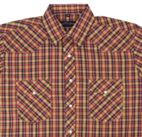 White Horse Men's Western Short Sleeve Shirt: Plaid D Blue Red Gold