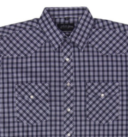 White Horse Men's Western Shirt: Plaid Check Medium Purple Black White