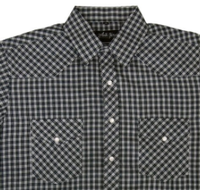 White Horse Men's Western Short Sleeve Shirt: Plaid Check Medium Navy White