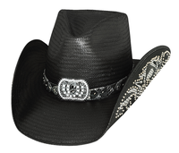 Bullhide Hats Platinum Collection: Straw Shantung Panama Cowgirl Fantasy Black S-XL