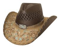 Bullhide Hats: Straw Decorated Panama Never Give Up Brown