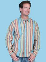 ZSold Scully Men's Western Shirt: Traditional Cotton Stripe Turquoise S-XL SOLD