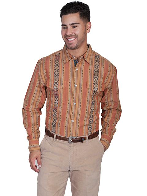 Scully Men's Western Shirt: Signature Series Pattern Stripe Rust S-2XL