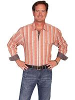 Scully Men's Western Shirt: Signature Series Dobby Stripe Seersucker Stripe Rust S-2X