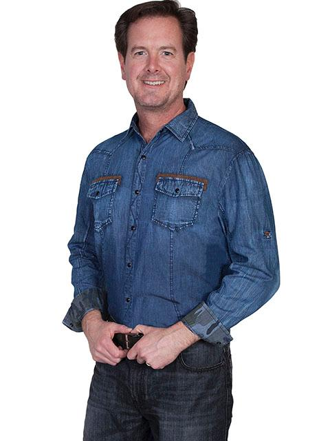 Men's Scully Western Shirt: Signature Series Denim with Chest Pockets Blue S-2XL