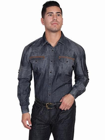 Scully Men's Western Shirt: Signature Series Denim with Chest Pockets Charcoal S-2XL