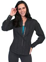Scully Ladies' Honey Creek Collection Blouse: Ruffle Snap Front Blouse Black SALE
