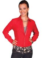 ZSold Scully Ladies' Honey Creek Collection Blouse: Diamond Dobby Tone on Tone Pockets Red M, L SOLD