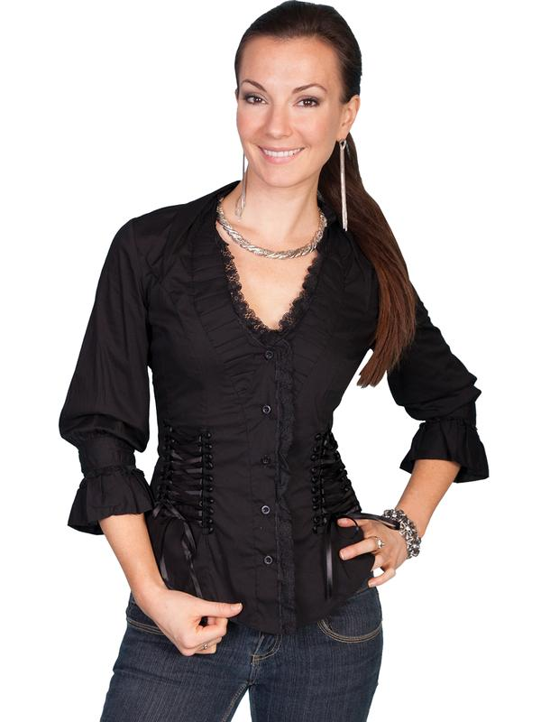 Scully Ladies' Honey Creek Collection Blouse: The Steampunk Retro Peasant Top Black