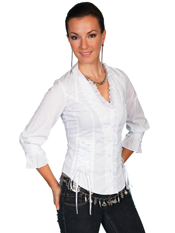 Scully Ladies' Honey Creek Collection Blouse: The Steampunk Retro Peasant Top White S-2XL