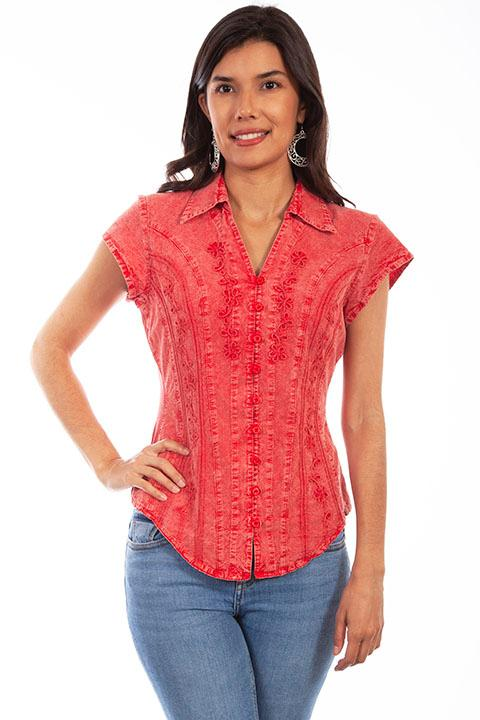 Scully Ladies' Cantina Collection Blouse: Cap Sleeve with Floral Vine Soutache Brick
