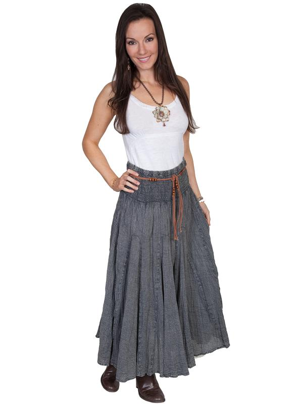 Scully Ladies' Cantina Collection Skirt: Acid Wash Charcoal