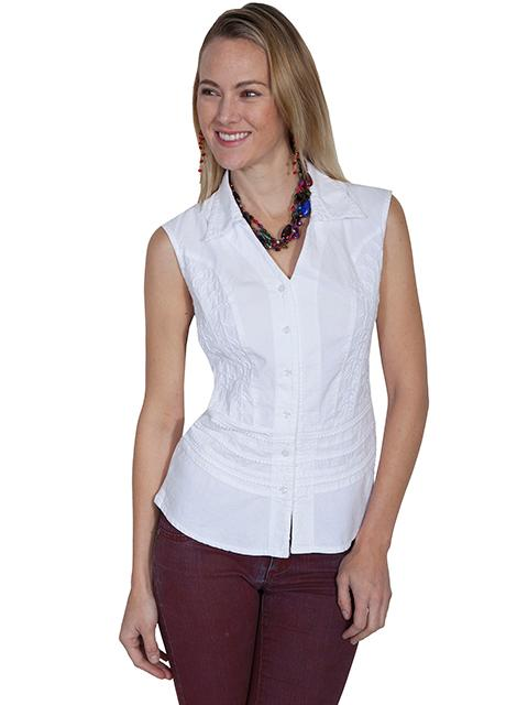 Scully Ladies' Cantina Collection Blouse: A Button Front Top Sleeveless Soutache Crochet White S-2XL