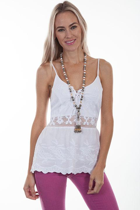Scully Ladies' Cantina Collection Blouse: A Halter Top with Front Lace Up White
