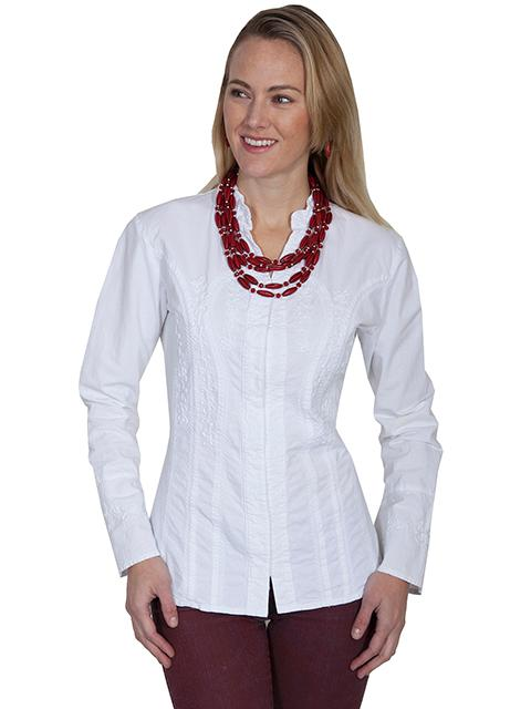 Scully Ladies' Cantina Collection Blouse: A Hidden Button Front Long Sleeve Soutache Design White S-2X
