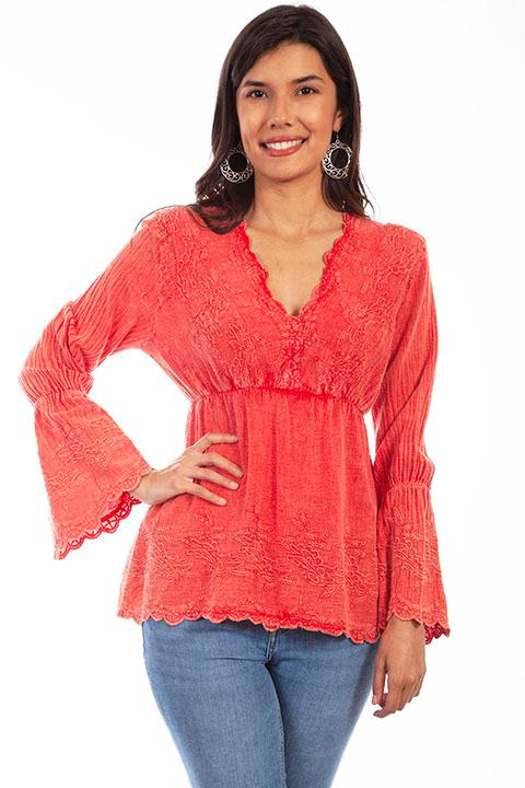 Scully Ladies' Cantina Collection Blouse: A Empire Waist with Bell Sleeves Brick