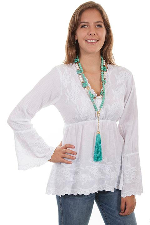 Scully Ladies' Cantina Collection Blouse: A Empire Waist with Bell Sleeves White