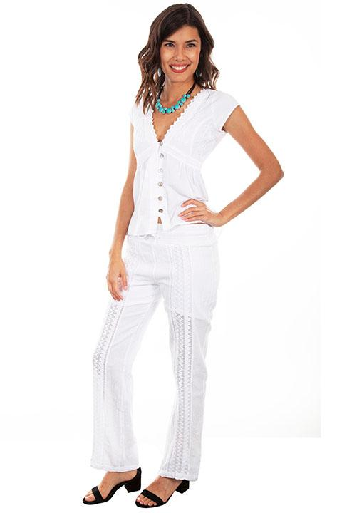 Scully Ladies' Cantina Collection Pant: Crochet White