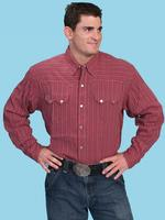 ZSold Scully Men's Western Shirt: Western Lifestyle Stripe Burgundy S-2X Big/Tall 3X-4X SOLD