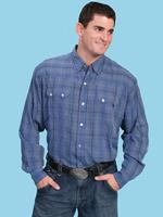 ZSold Scully Men's Western Shirt: Western Lifestyle Check Blue S-4XL SOLD