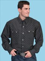 Scully Men's Lifestyle Collection Shirt: Print Tone on Tone with Saw Tooth Pockets Black 3XL SALE