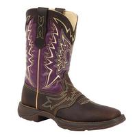 Ladies' Rocky Brands Boots Durango: Lady Rebel Collection Let Love Fly Plum Brown Square Toe 6-10