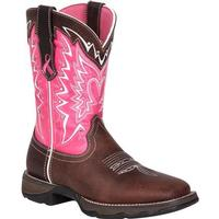 Ladies' Rocky Brands Boots Durango: Lady Rebel Collection Pink Western Boot Stefanie Spielman Benefit Pink Square Toe 6-10, 11