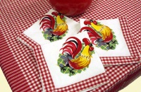 ZSold Red and White Kitchen Tablecloth Set: Rooster Deluxe Luncheon Set SOLD