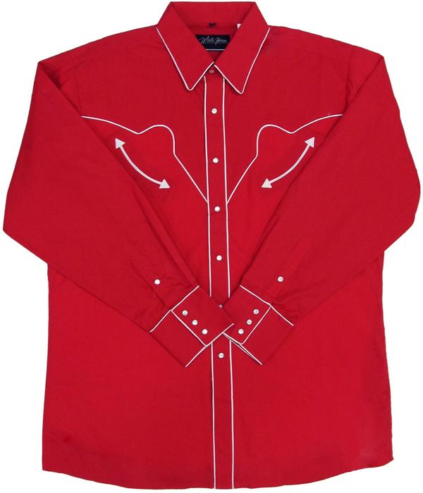 White Horse Men's Vintage Western Shirt: Retro Solid with Piping Red
