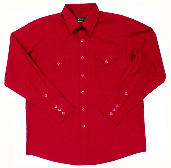 White Horse Men's Western Shirt: Solid Classic Pocket Red