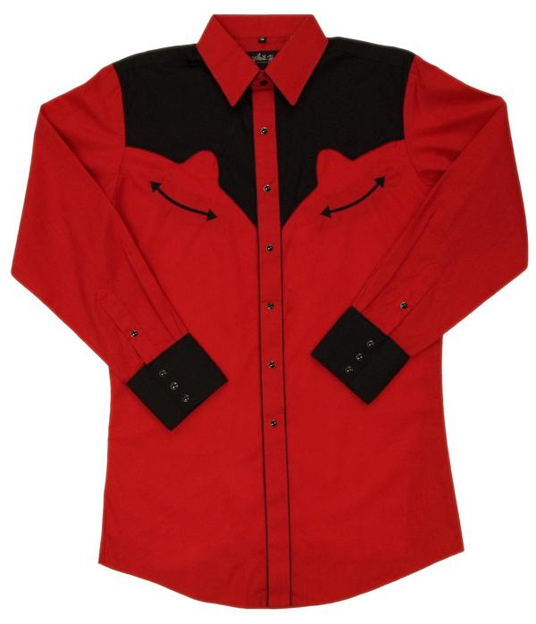 White Horse Men's Vintage Western Shirt: Retro Black and Red