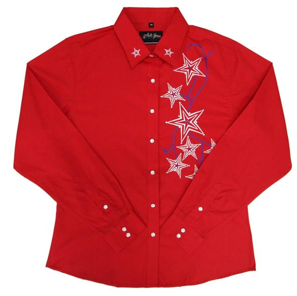 White Horse Ladies' Vintage Western Shirt: Embroidered Stars Red