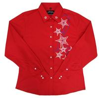 White Horse Ladies' Vintage Western Shirt: Embroidered Stars Red S-2XL