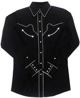 White Horse Ladies' Vintage Western Shirt: Retro Piping Black