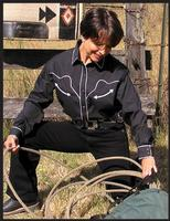 White Horse Ladies' Shirt Long Sleeve: Solid with Retro Piping Black S, L-2XL