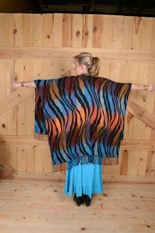 Rhonda Stark Designs Italian Acrylic Collection: Shawl Wave Turquoise, Fringe