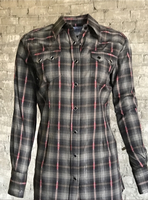 Rockmount Ranch Wear Ladies' Western Shirt: Plaid Retro Dobby Lurex Black S-XL