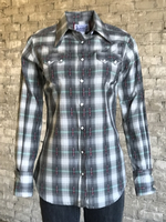 Rockmount Ranch Wear Ladies' Western Shirt: Plaid Cotton Shadow Plaid Retro Grey