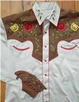Rockmount Ranch Wear Men's Vintage Western Shirt: Fancy Two Tone Roses Tan and Brown S-XL