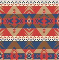 ZSold Rockmount Ranch Wear Blanket: Native American Design Blue & Coral SOLD